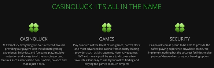 casinoluck features