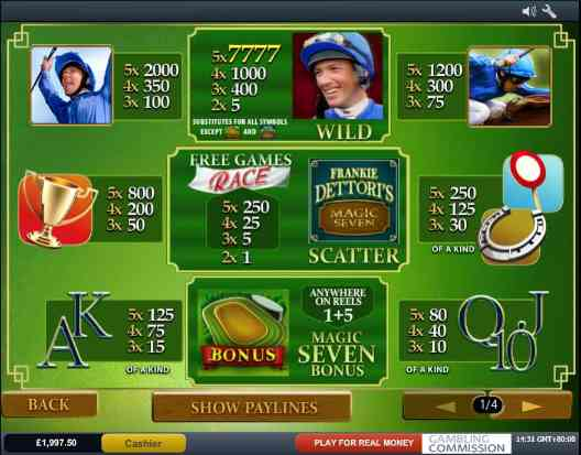 frankie dettori slot screenshot