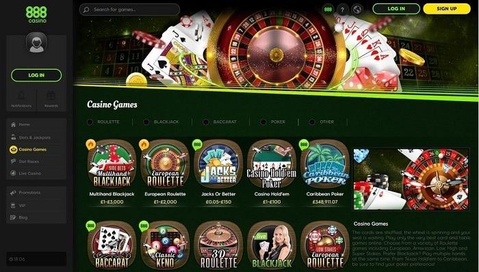 888 Casino UK Screenshot