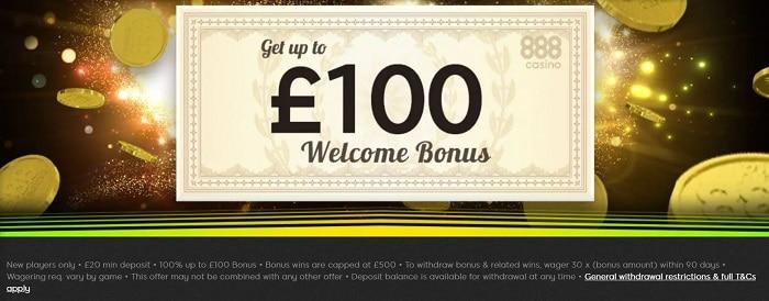 888casino UK Welcome Bonus