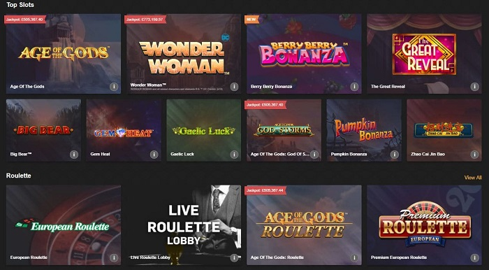 betfair casino games screenshot