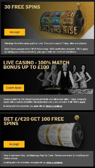 Betfair Casino UK Welcome Bonuses