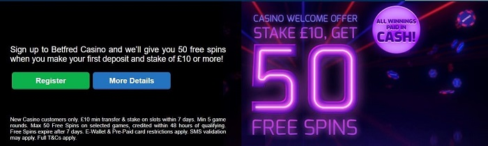 Betfred Casino Welcome Bonus