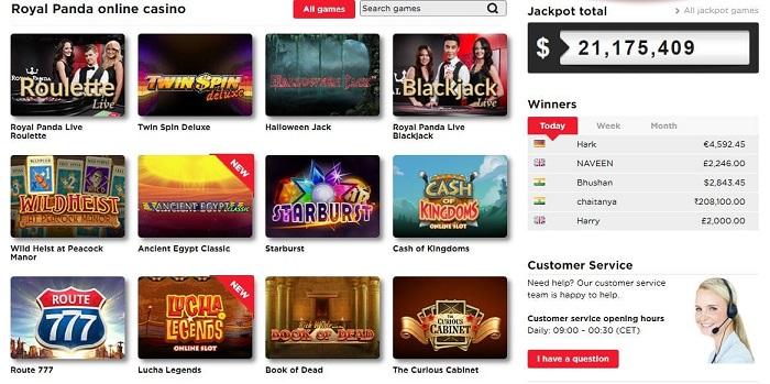 Royal Panda Casino Screenshot