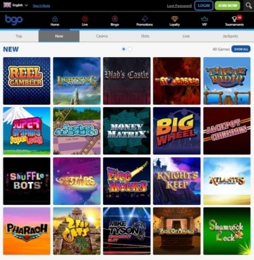 BGO Casino Games Screenshot