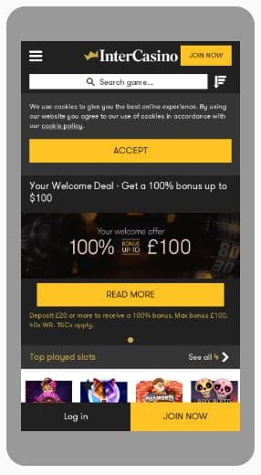 InterCasino Mobile Screenshot