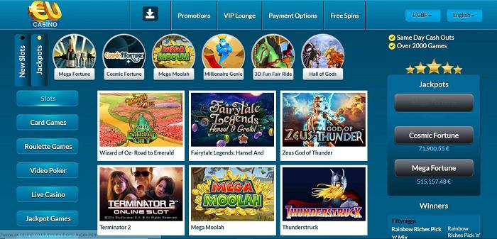 EUcasino Screenshot & Games