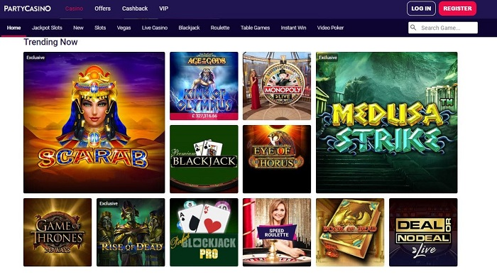 partycasino screenshot games