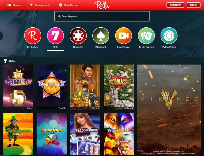 rolla casino screenshot games
