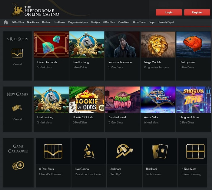 The Hippodrome Online Casino Games Screenshot