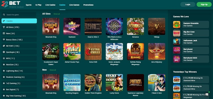 22bet casino screenshot games