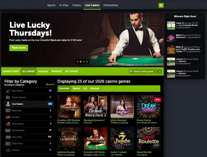 ComeOn Casino Live Games
