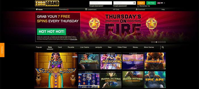 Games at Eurogrand Casino