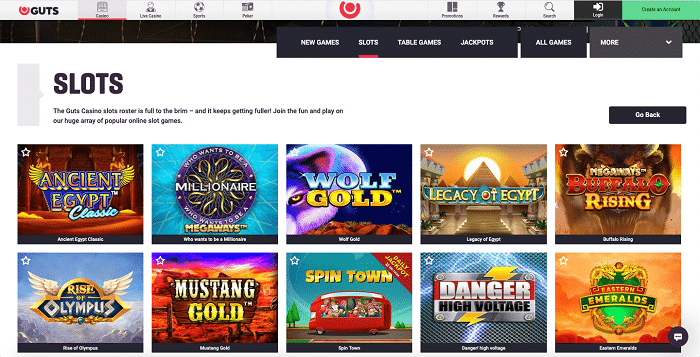 Games at Guts Casino