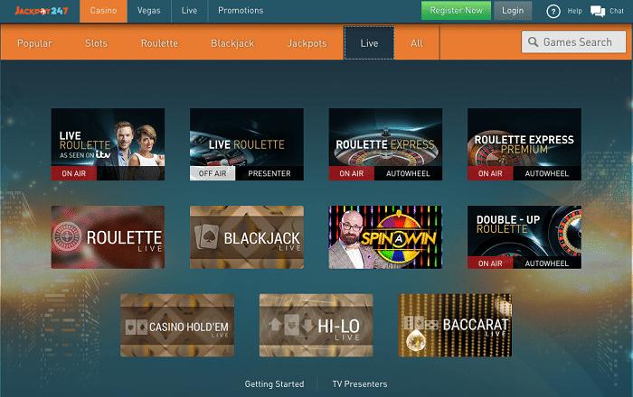 Live Casino at Jackpot247