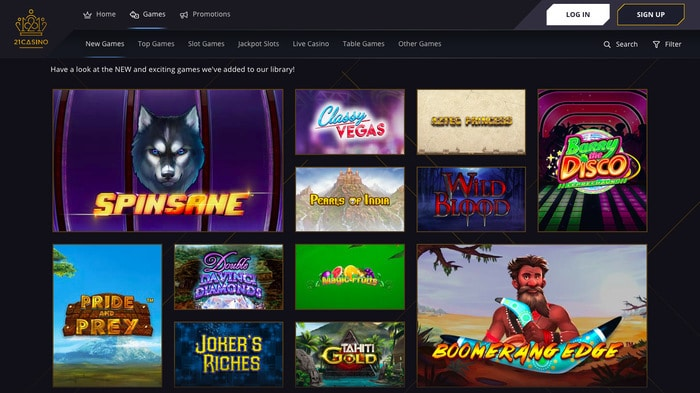 21Casino Games Screenshot