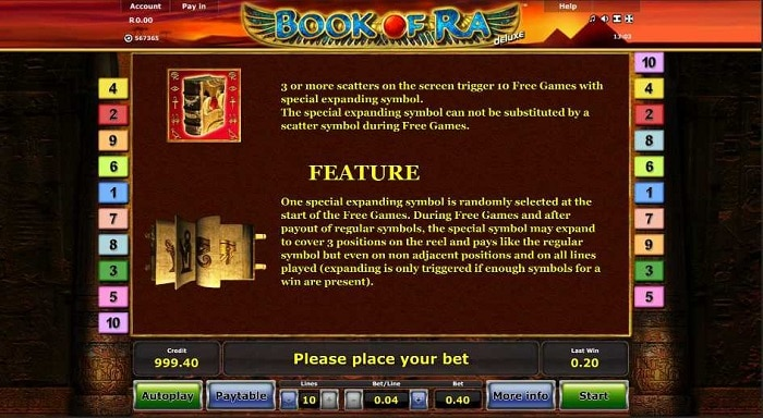 Book of Ra Deluxe Feature