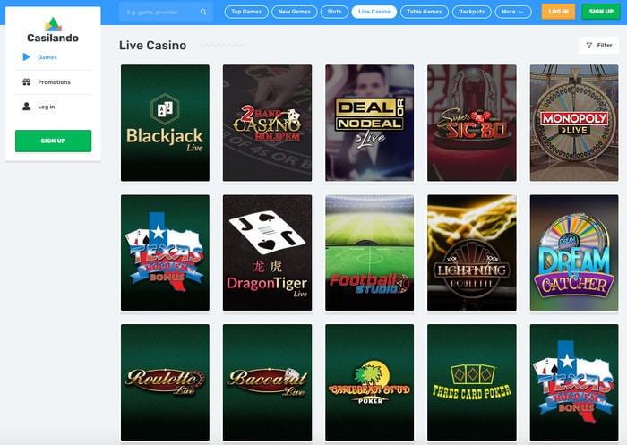 Casilando Casino Live Games