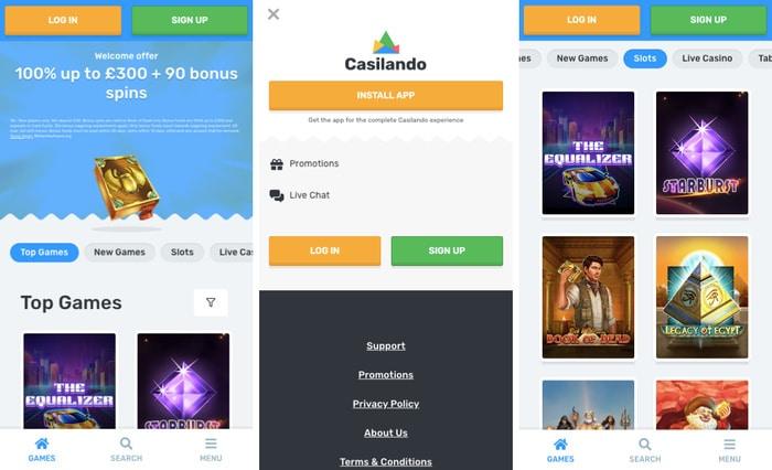 Casilando Casino Mobile App