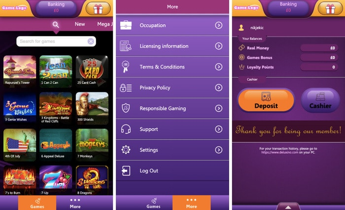 Deluxino Casino Mobile App
