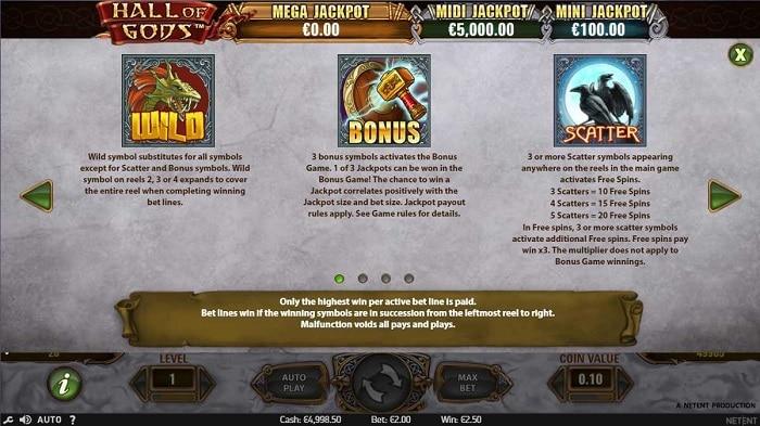 Hall of Gods Slot Paytable