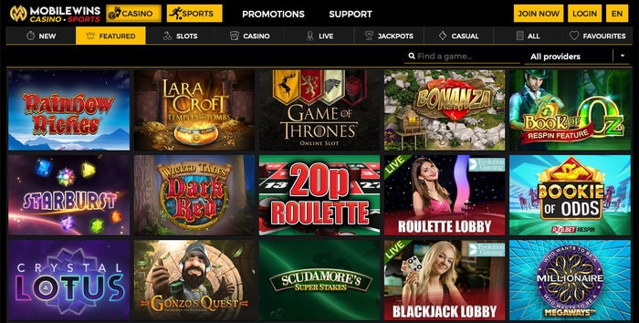 MobileWins Casino Games