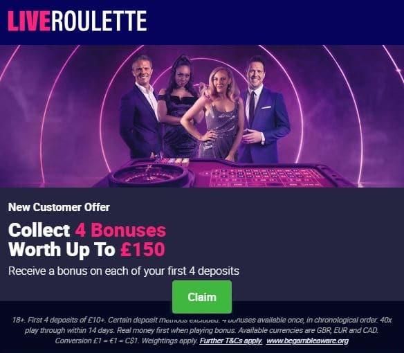 LiveRoulette Casino Welcome Bonus
