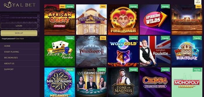 RoyalBet Casino Screenshot & Games