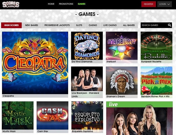 Scores Casino UK Games Screenshot