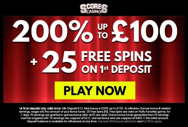 Scores Casino UK Welcome Bonus