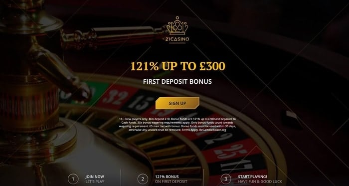 21 casino new customer welcome offer for UK players