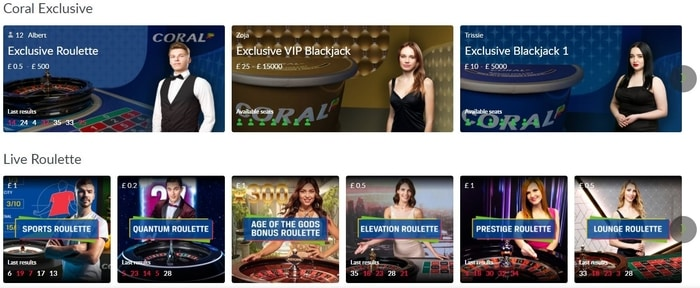 coral live casino game selection
