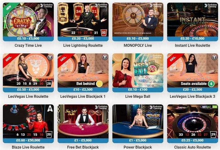 leovegas live casino games lobby