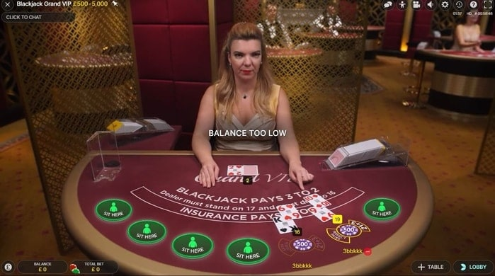 netbet live blackjack table