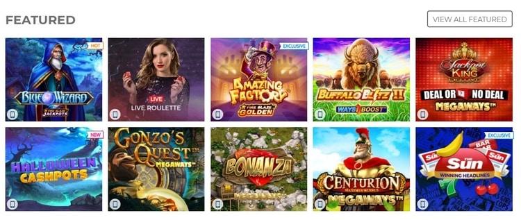 sun vegas featured casino games