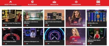sun vegas live casino homescreen