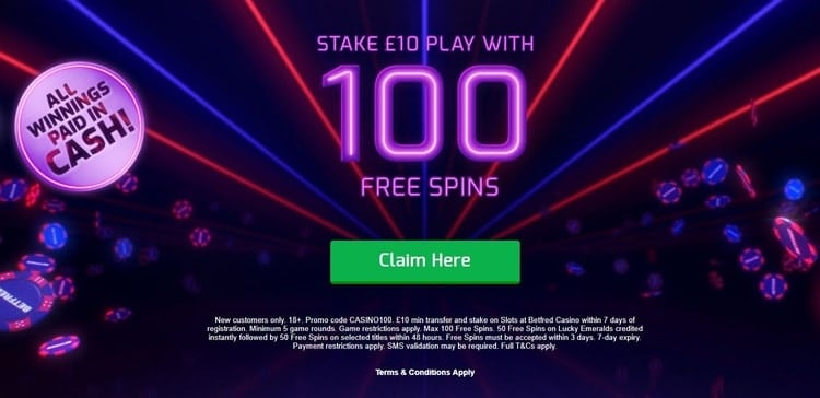 betfred casino exclusive welcome bonus for new players