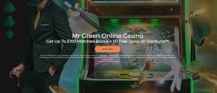 mr green casino welcome bonus for new customers