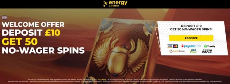 energy casino welcome bonus for new customers