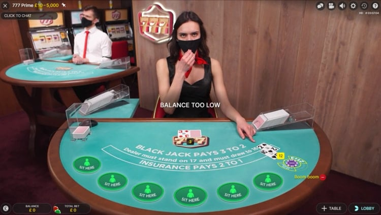 777 casino live blackjack table