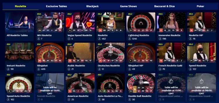william hill live casino home screen