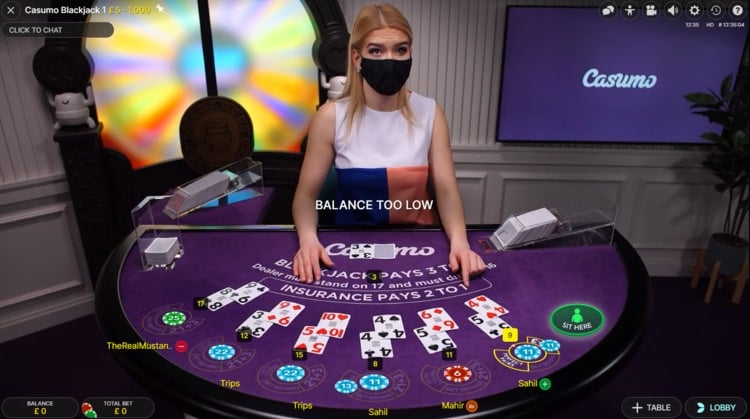 casumo live blackjack table