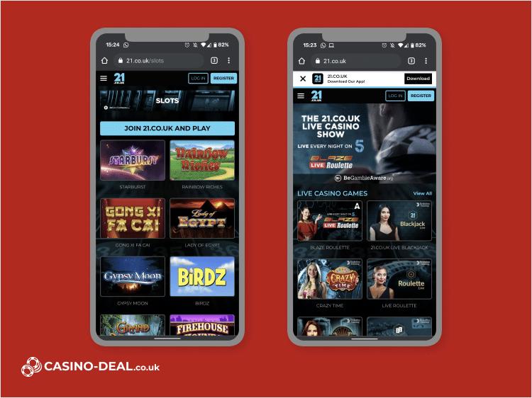 21.co.uk mobile casino image
