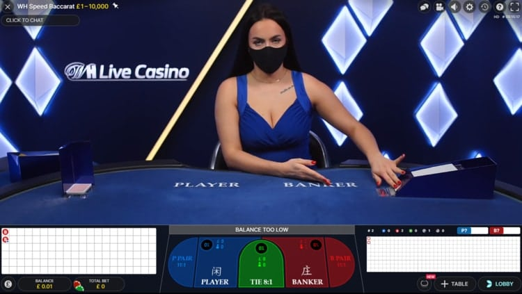 william hill live baccarat exclusive table