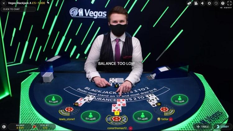 william hill live blackjack exclusive table