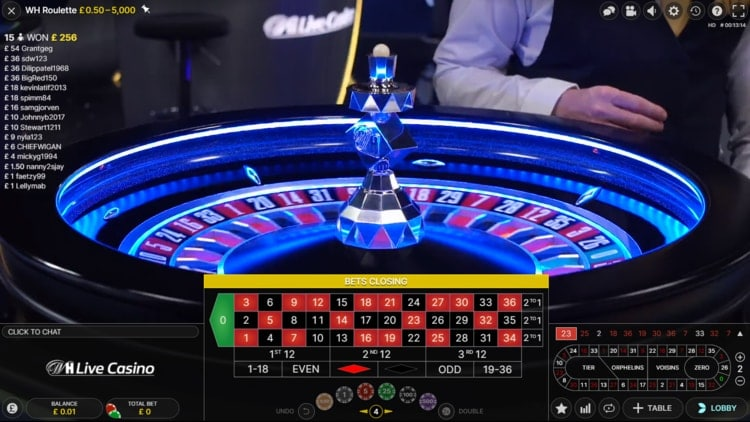 william hill live roulette exclusive table