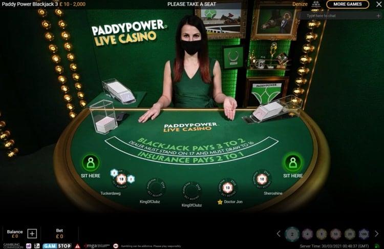 paddy power live blackjack table