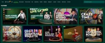 paddy power live casino main menu