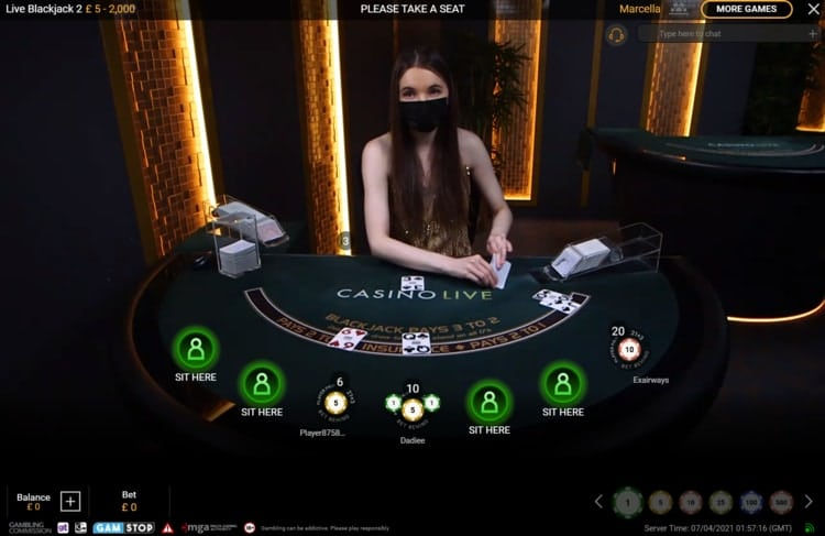 betfair casino live blackjack table