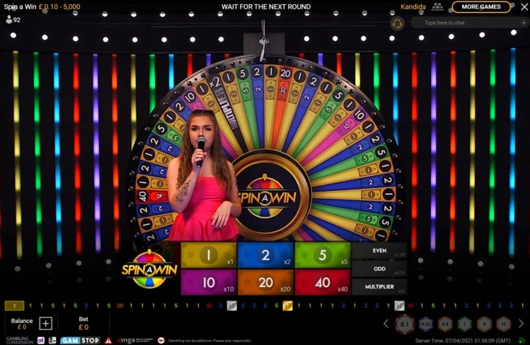 betfair casino live spin a win game show